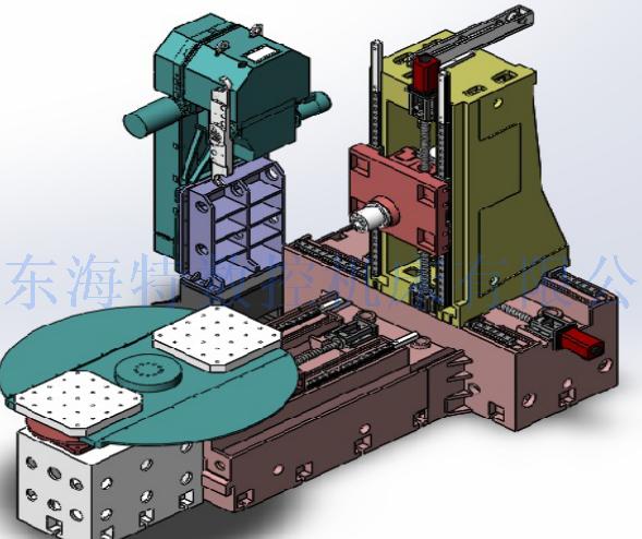 卧式加工中心,是指主轴轴线与工作台平行设置的加工中心,主要适用于加工箱体类零件。 卧式加工中心的主轴处于水平状态,通常带有可进行分度回转运动的正式形工作台。一般具有3~5个运动坐标,常见的是三个直线运动坐标加一个回转运动坐标,它能够使工件在一次装夹后完成除安装面和顶面以外的其余四个面的加工,最适合加工箱体类零件。一般具有分度工作台或数控转换工作台,可加工工件的各个侧面;也可做多个坐标的联合运动,以便加工复杂的空间曲面。 有的卧式加工中心带有自动交换工作台,在对位于工作位置的工作台上的工件进行加工的同时,